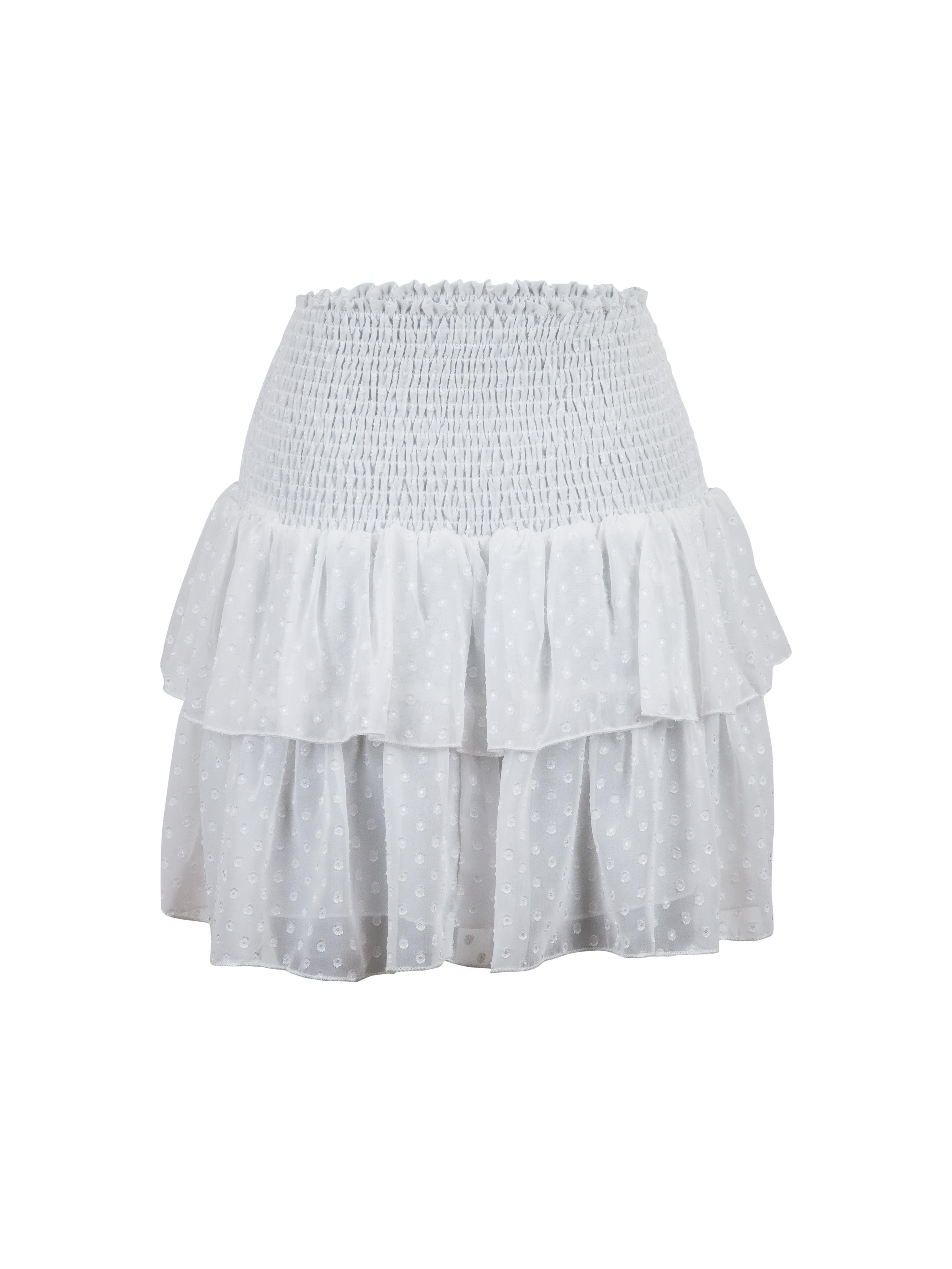 Neo Noir Carin Dobby Dot nederdel, white, x-small