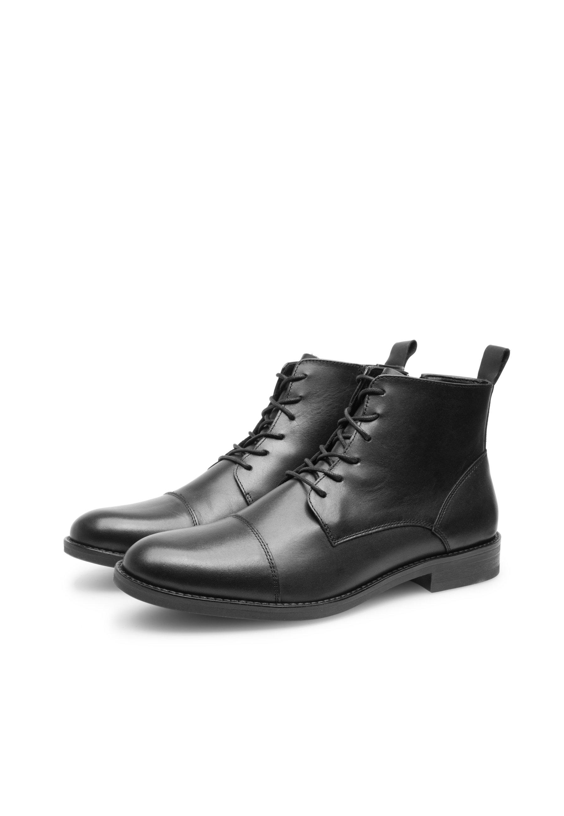 Kort Læderstøvle, Sort, 43