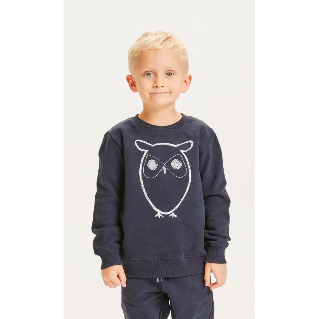 Knowledge Cotton Apparel Lotus owl sweatshirt, total eclipse, 134/140