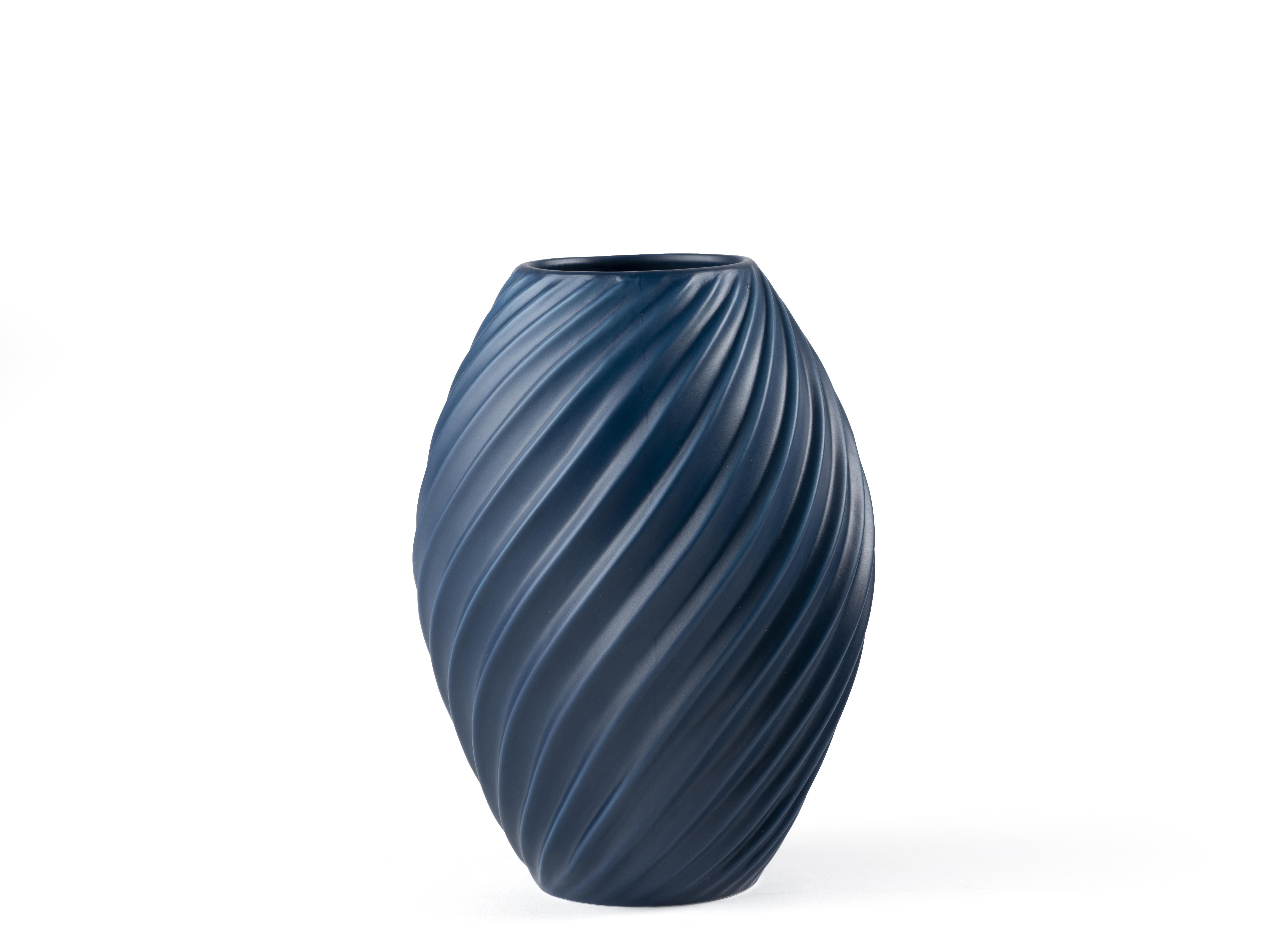 Morsø River vase, mat blå, 16 cm