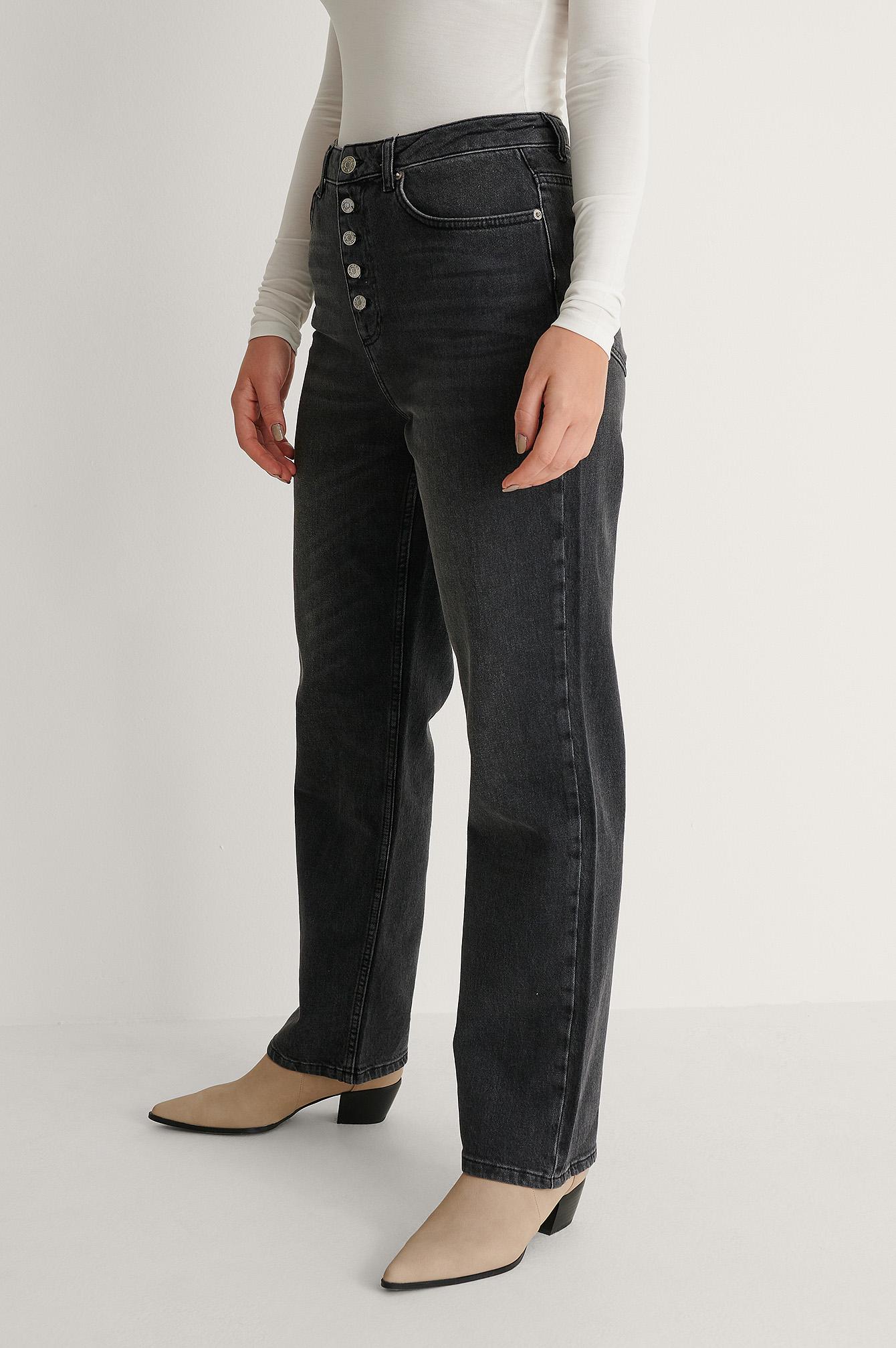 NA-KD Jeans, Grå, 40