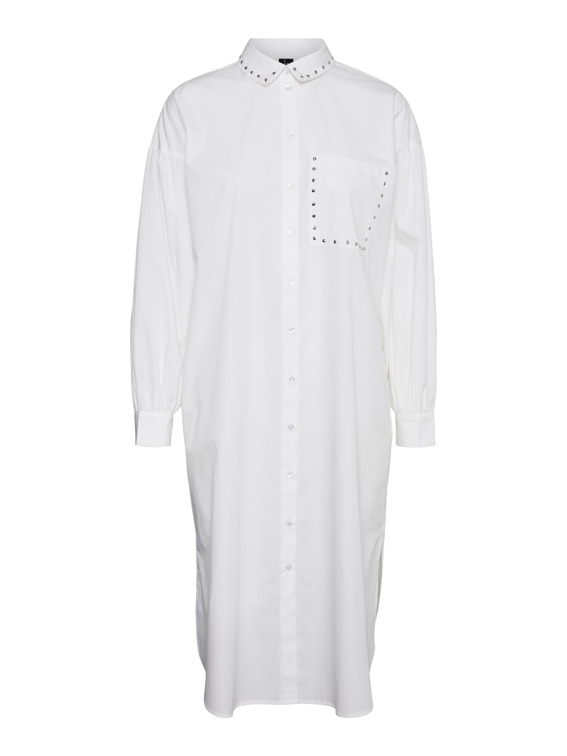 Vero Moda Hillan lang skjorte, snow white, medium