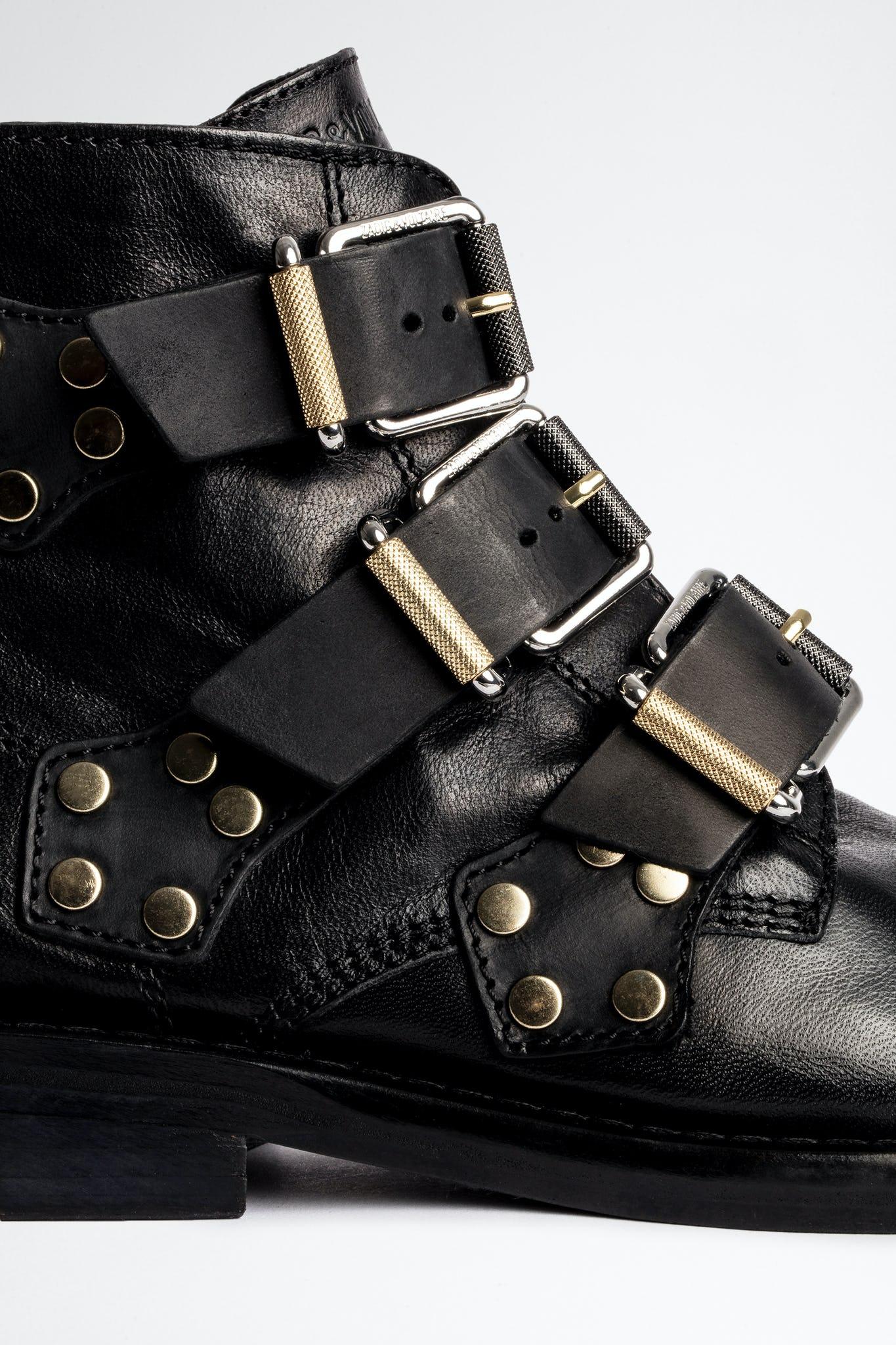 Zadig & Voltaire Laureen Buckle Flat ankelstøvle, noir, 36