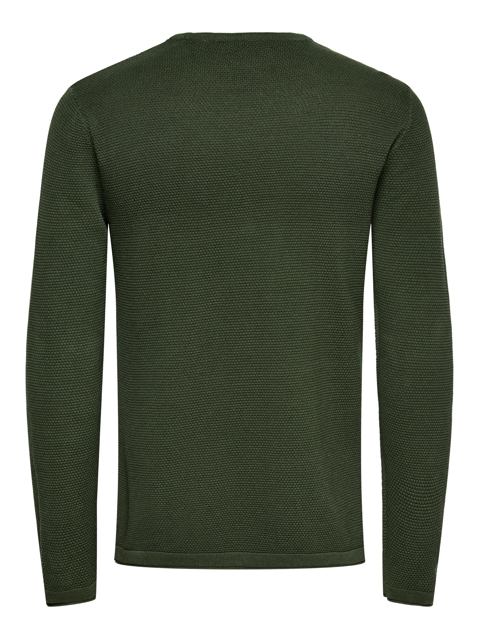 Only & Sons Panter Life Crew Neck strik, forest night, x-large
