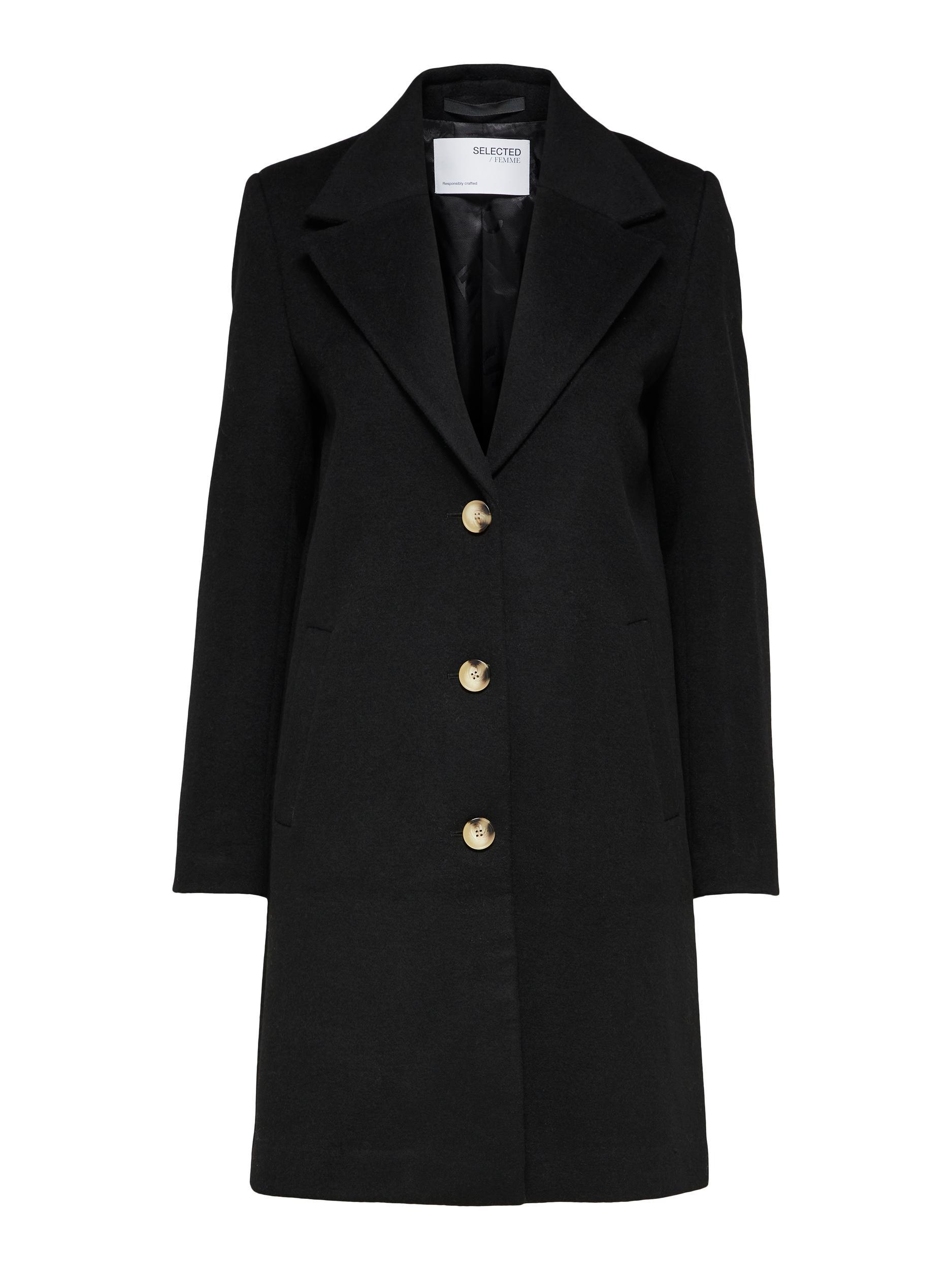 Selected Femme New Sasja uldfrakke, black, 38