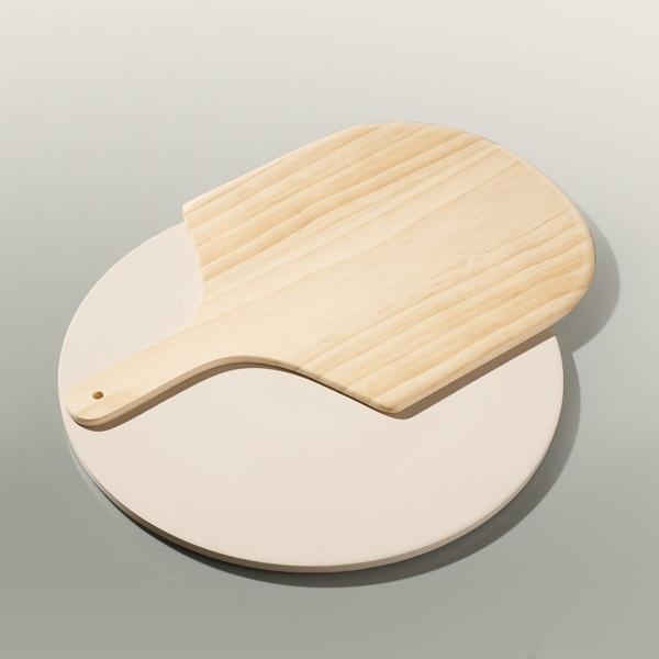 Funktion pizza bagesten med spade, Ø37,5 cm, beige