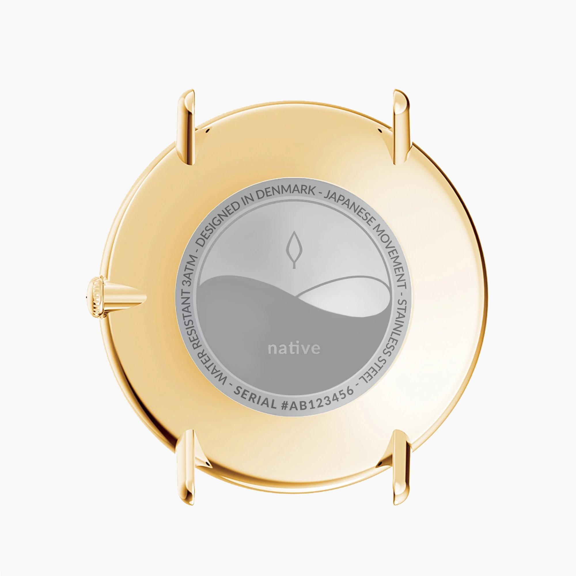 Nordgreen Native ur, guld/mørkebrun, 40 mm