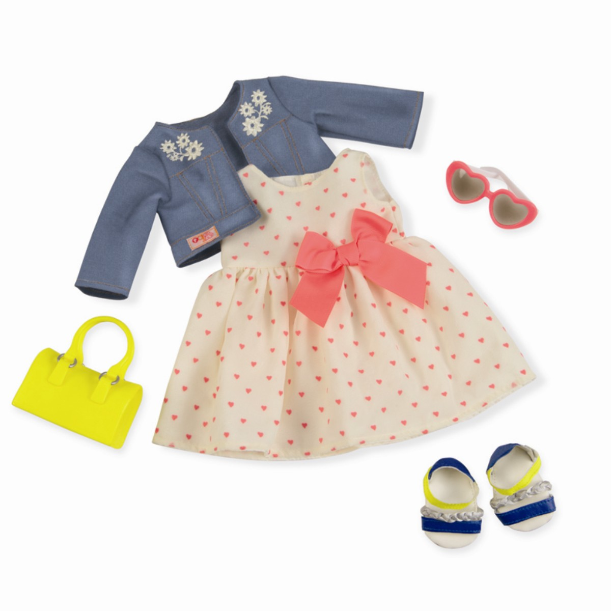 Our Generation deluxe dukketøj, kjole m. hjerter