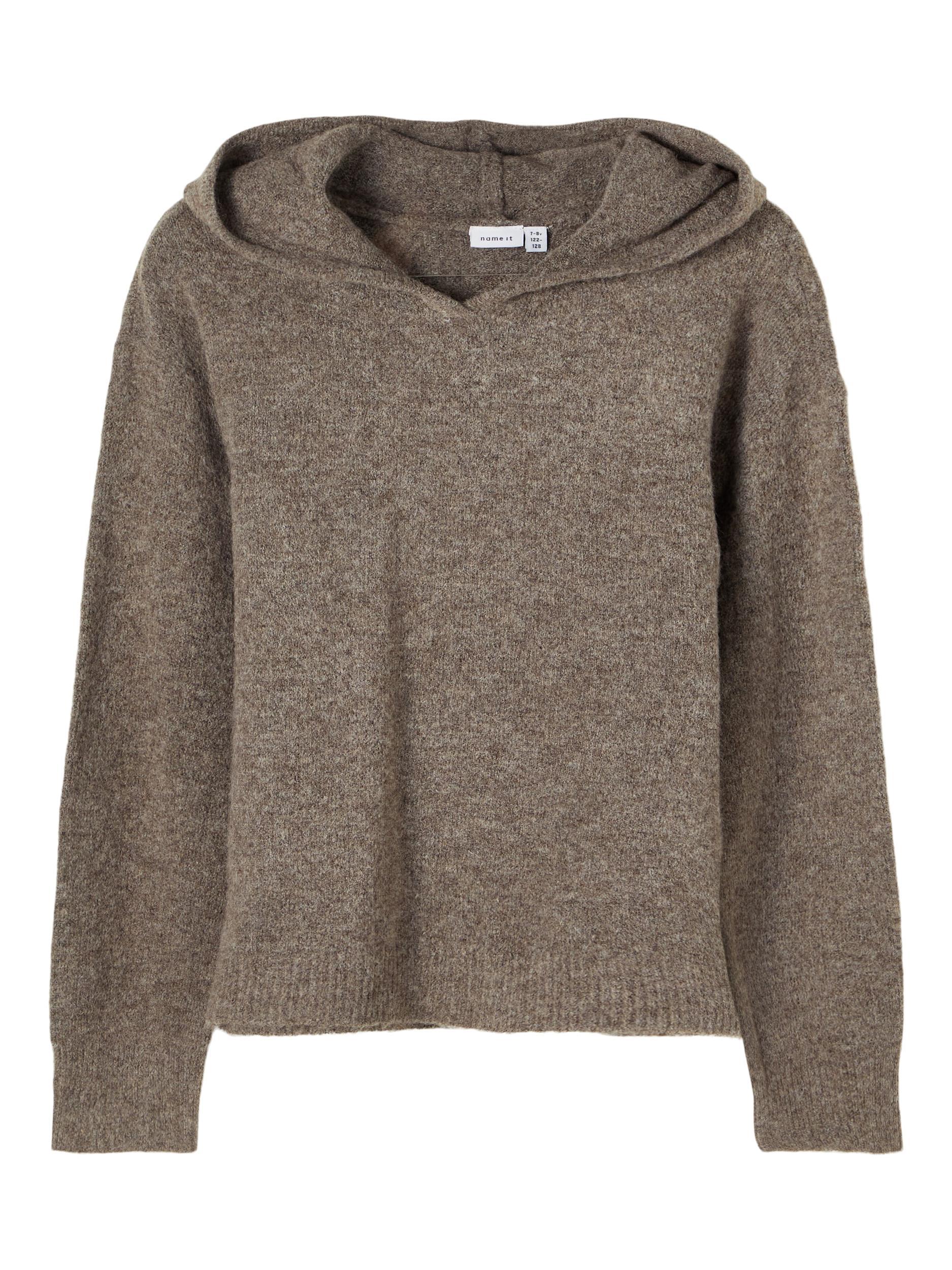 Name It Duna strik hoodie, dark grey melange, 116