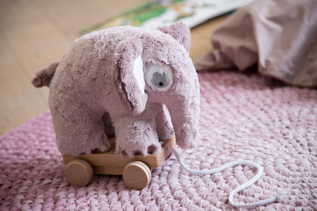 Sebra plys trækdyr, elefant, rosa