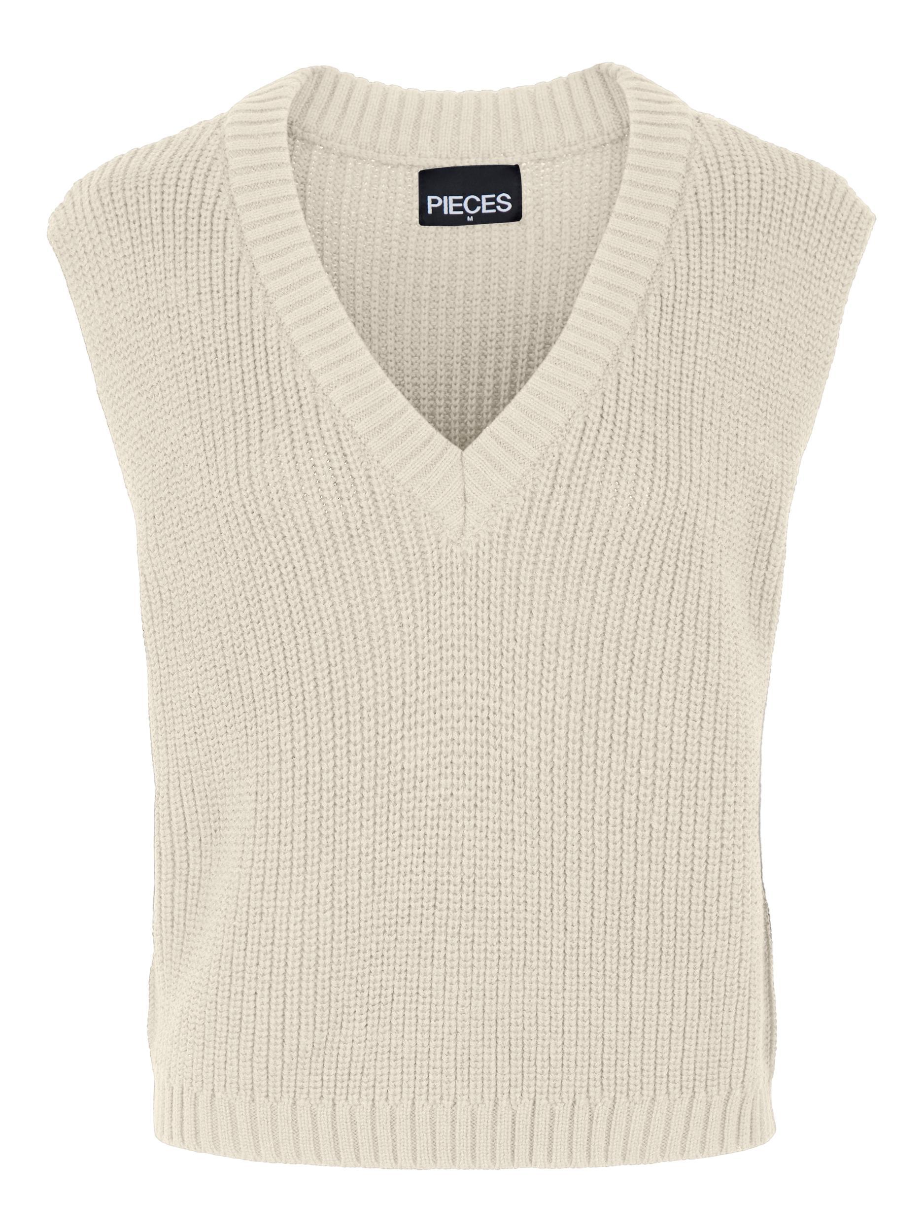 Pieces Carole V-Neck vest, birch, x-large