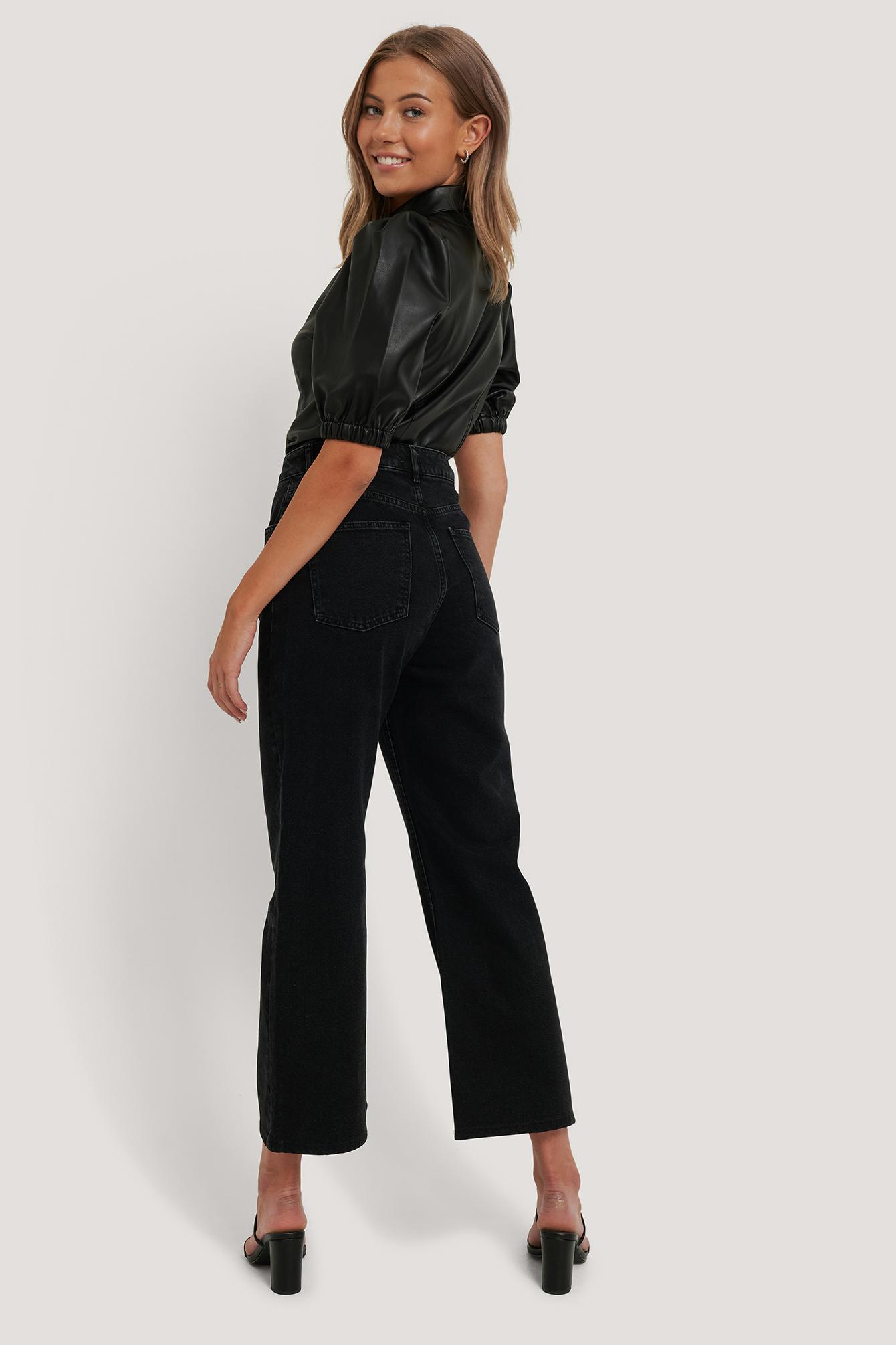 NA-KD Stumpe jeans m. vidde, black, 40