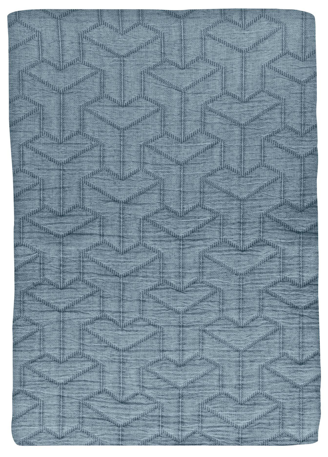 Mette Ditmer Trio sengetæppe, 250x250 cm, petrol blue