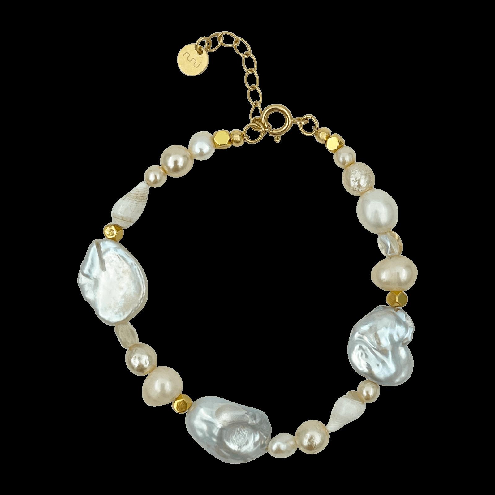 Nuni Copenhagen Pam armbånd, pearl/guld, 15,5 cm