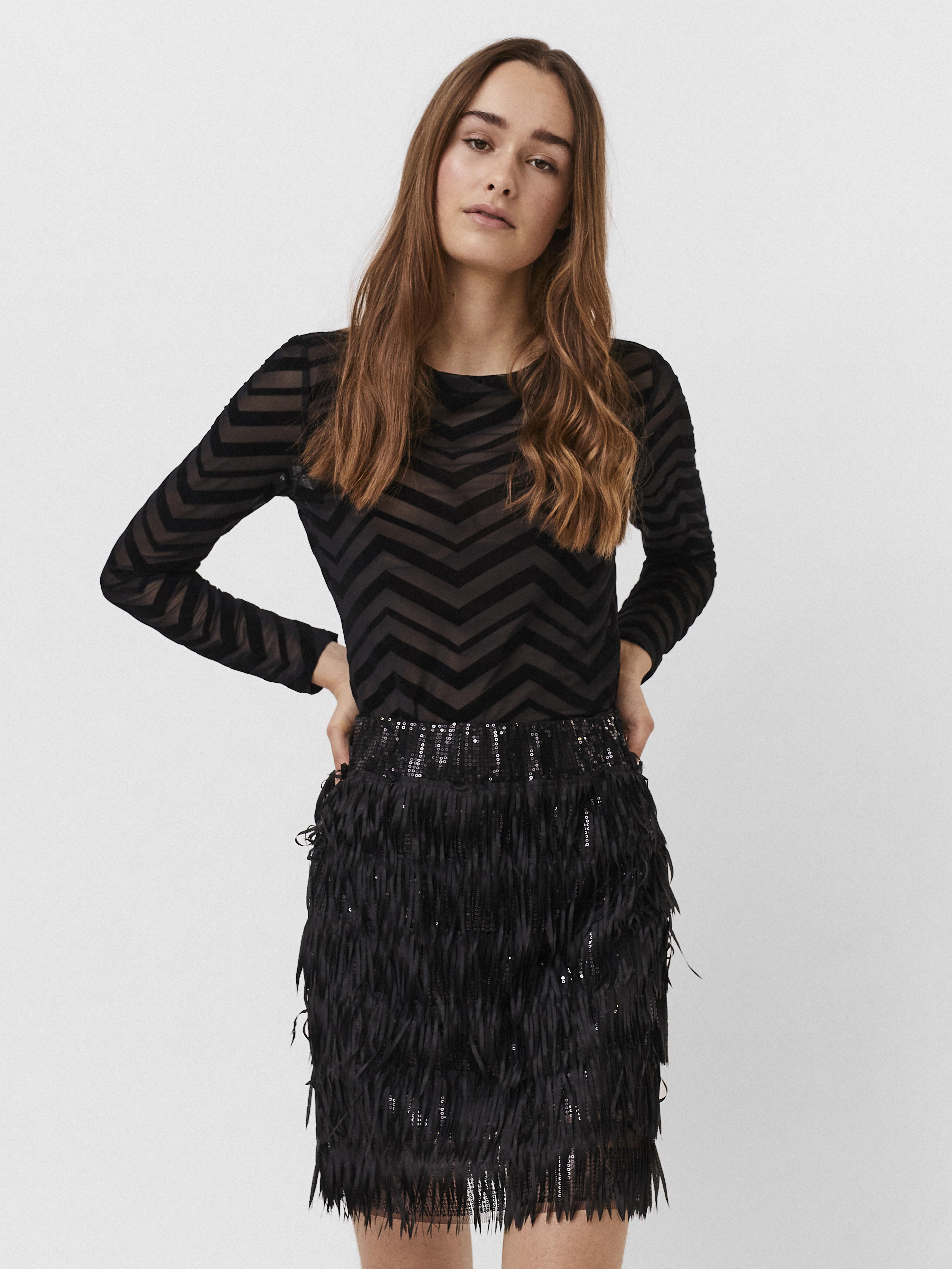 Vero Moda Daya Bluse, Black Zig Zag, S