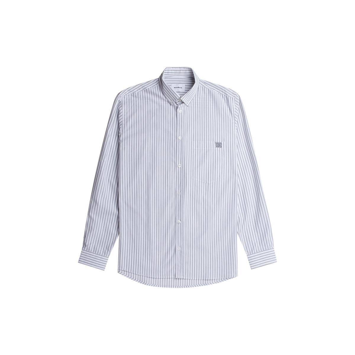 Woodbird Fling Stripe Skjorte, Light Grey, M