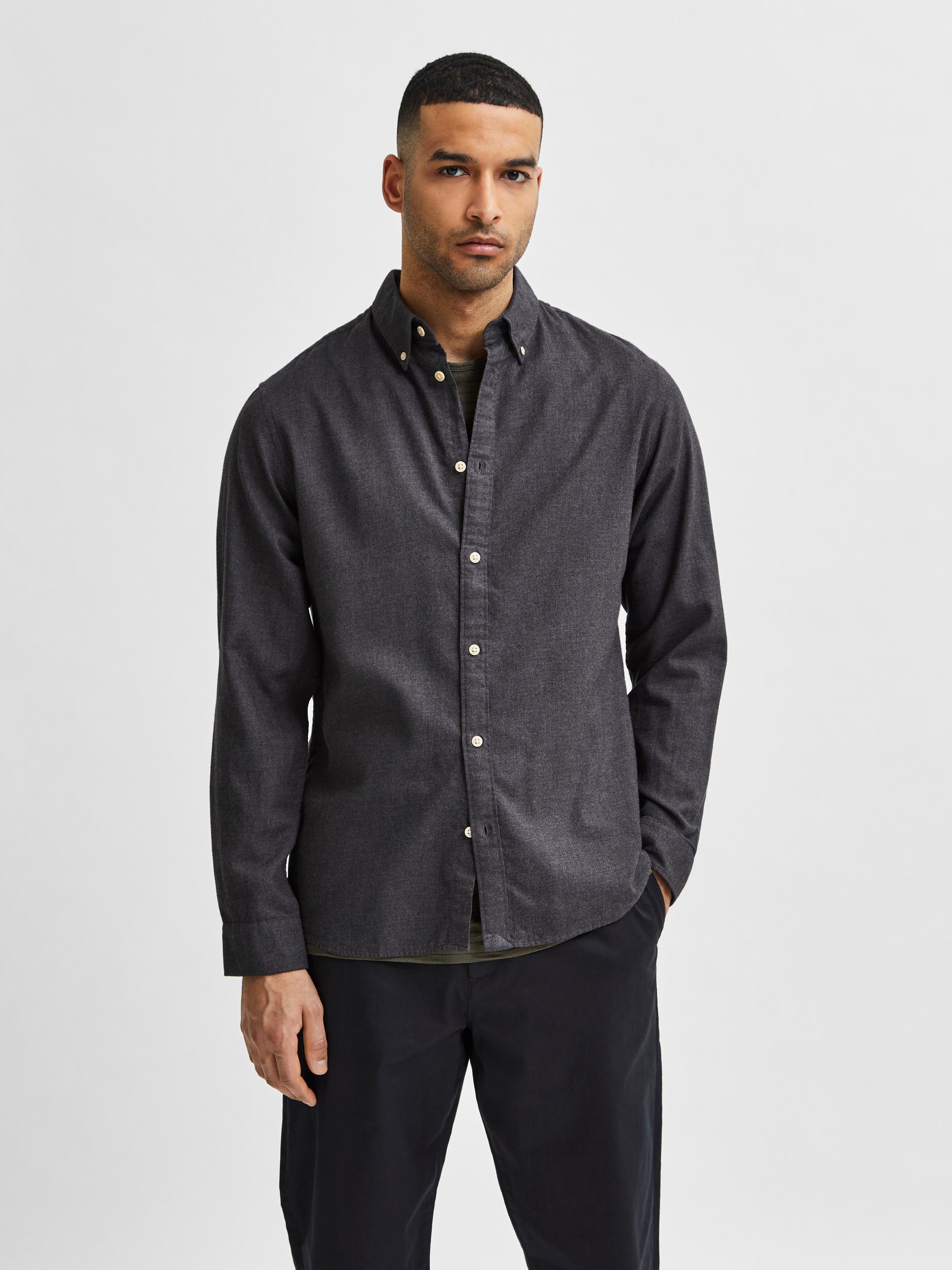 Selected Homme Flannel Slim skjorte, black, small