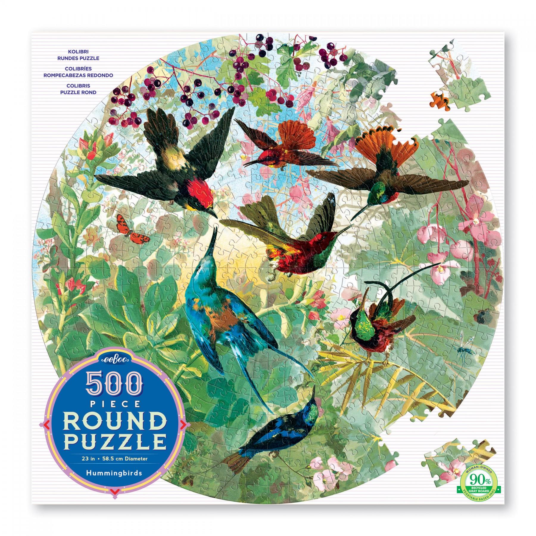 eeBoo rundt puslespil, kolibrier, 500 brikker