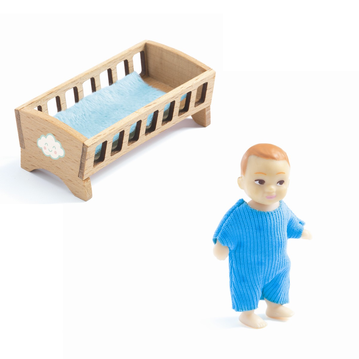 Djeco Dukkehus tilbehør, baby m. seng