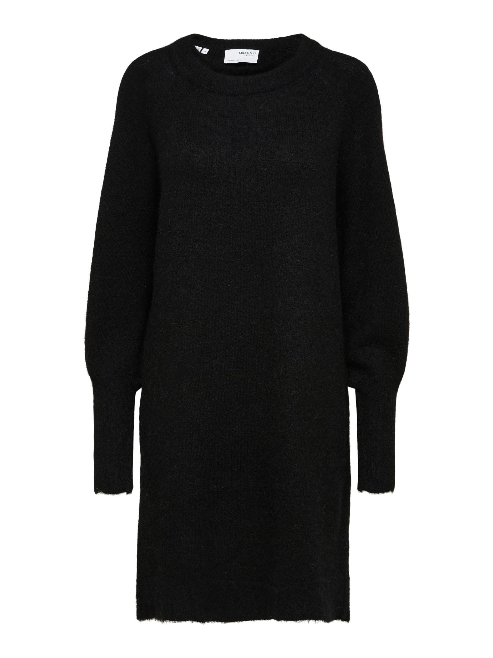 Selected Femme Lulu LS strikkjole, black, x-large