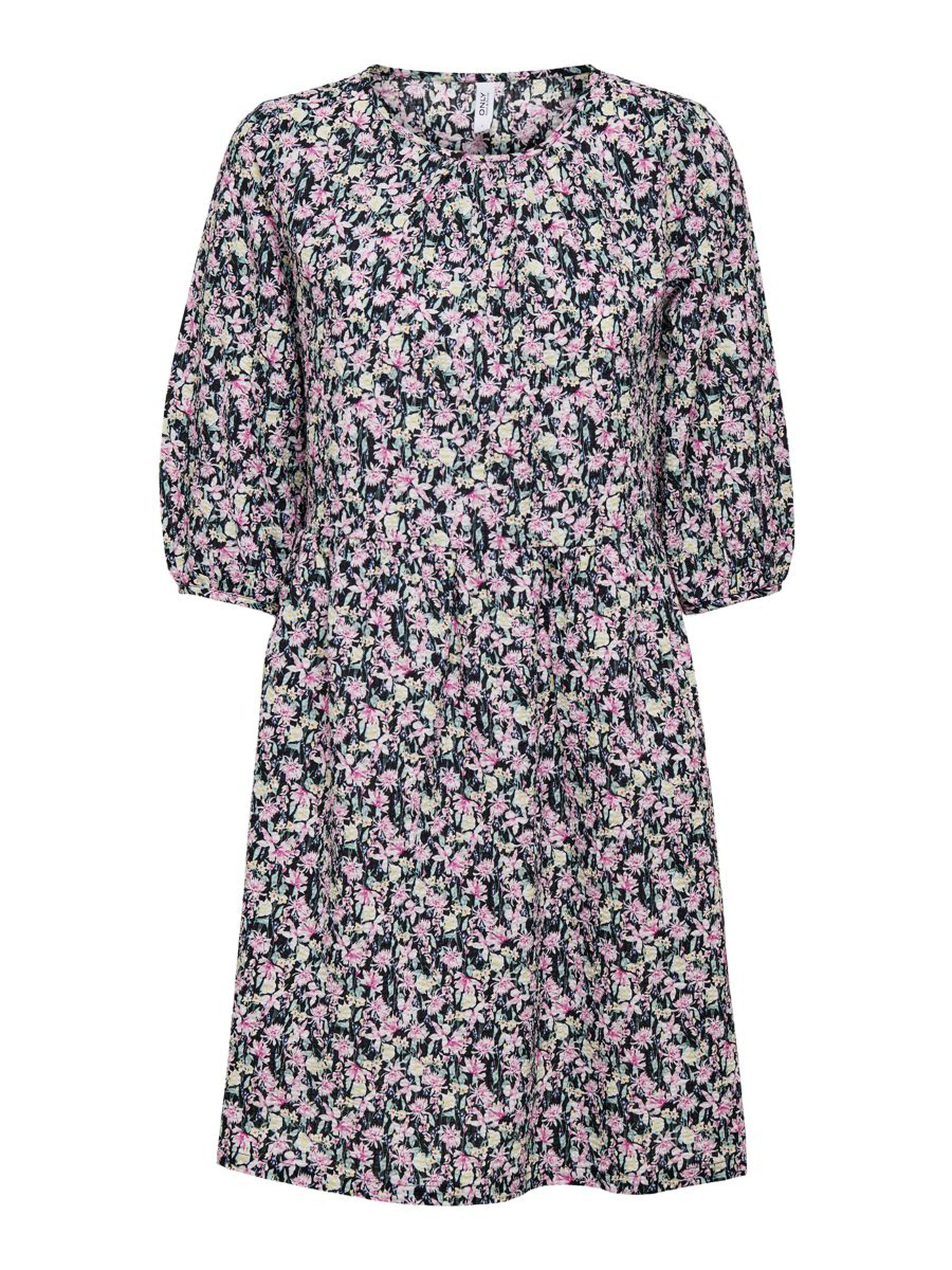 Only Lua 2/4 printet kjole, black/pink, small