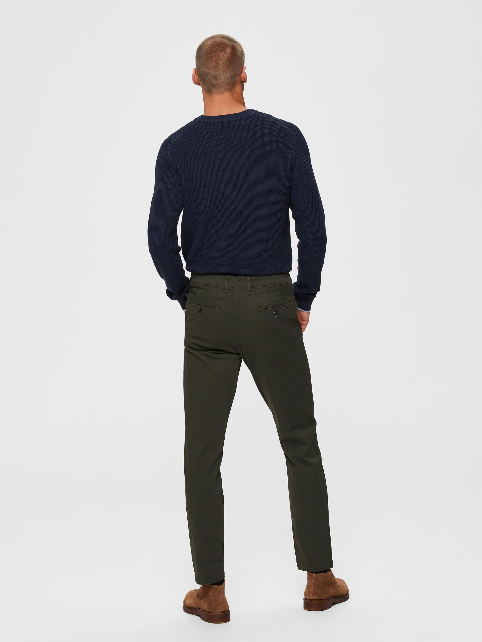 Selected Homme Miles Slim Flex chinos, forest night, 34/34