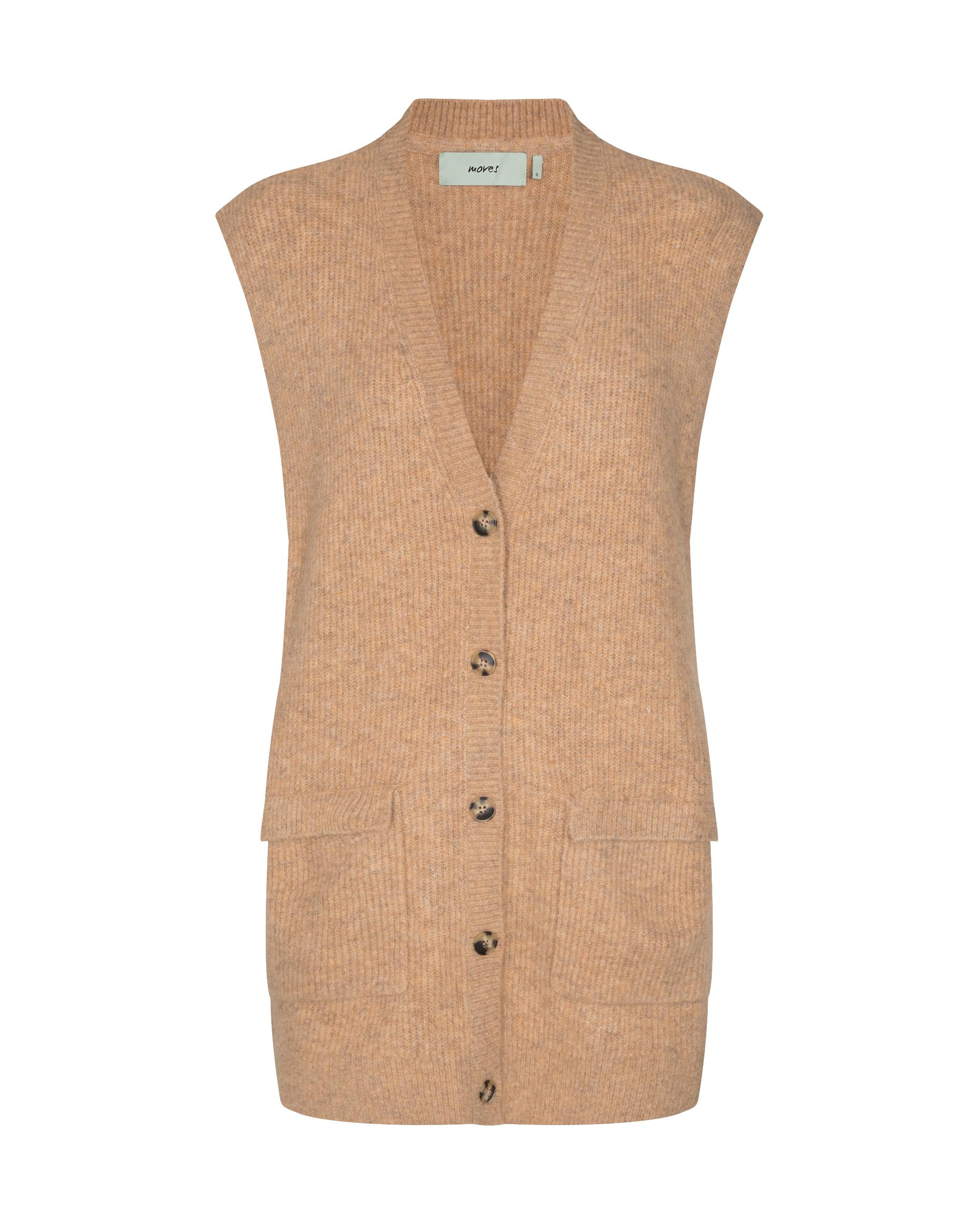Moves Laerke vest cardigan, ice coffee, x-large