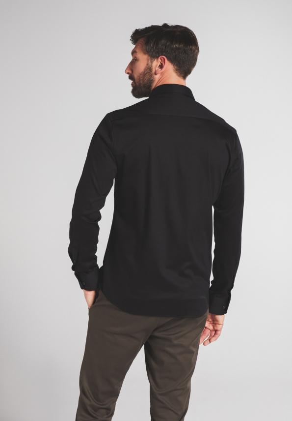 Eterna LS skjorte, modern fit, black uni, 40