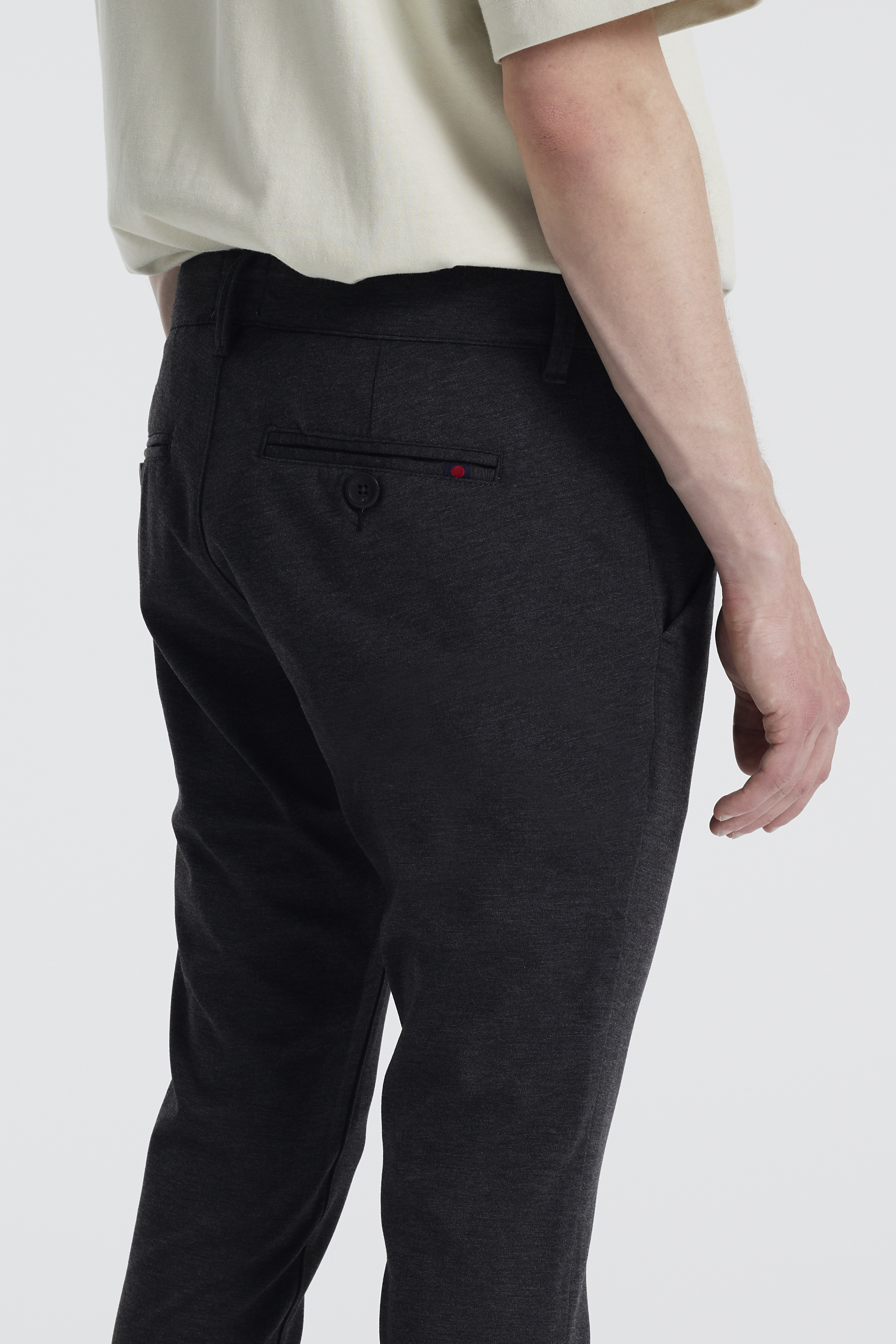 Denim Project Ponte Roma Plain Bukser, Dark Grey Melange, W31/L30