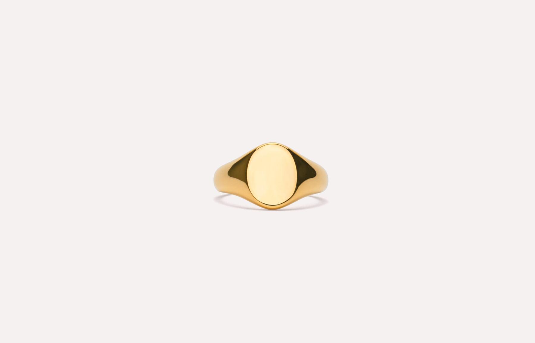 Frederik IX Studios mini oval signet ring, Gold, 54