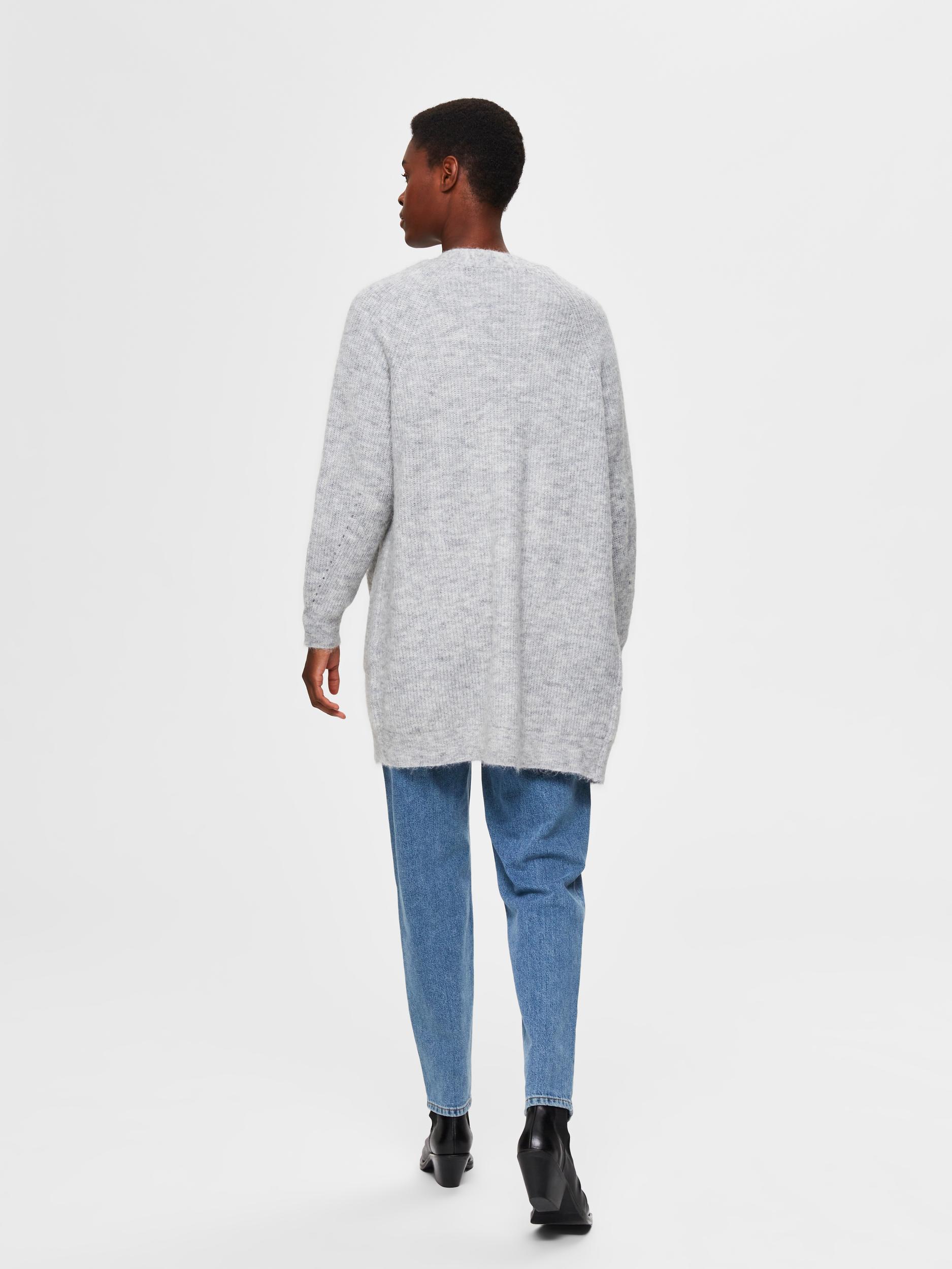 Selected Femme Lulu lang cardigan, light grey melange, x-small