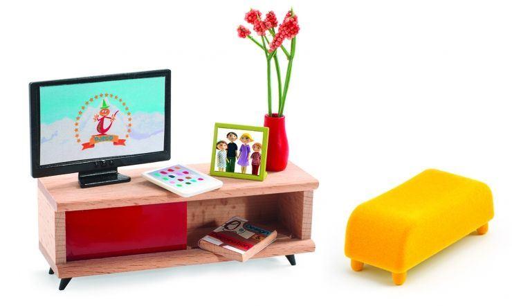 Djeco Dukkehus tilbehør, tv møbel