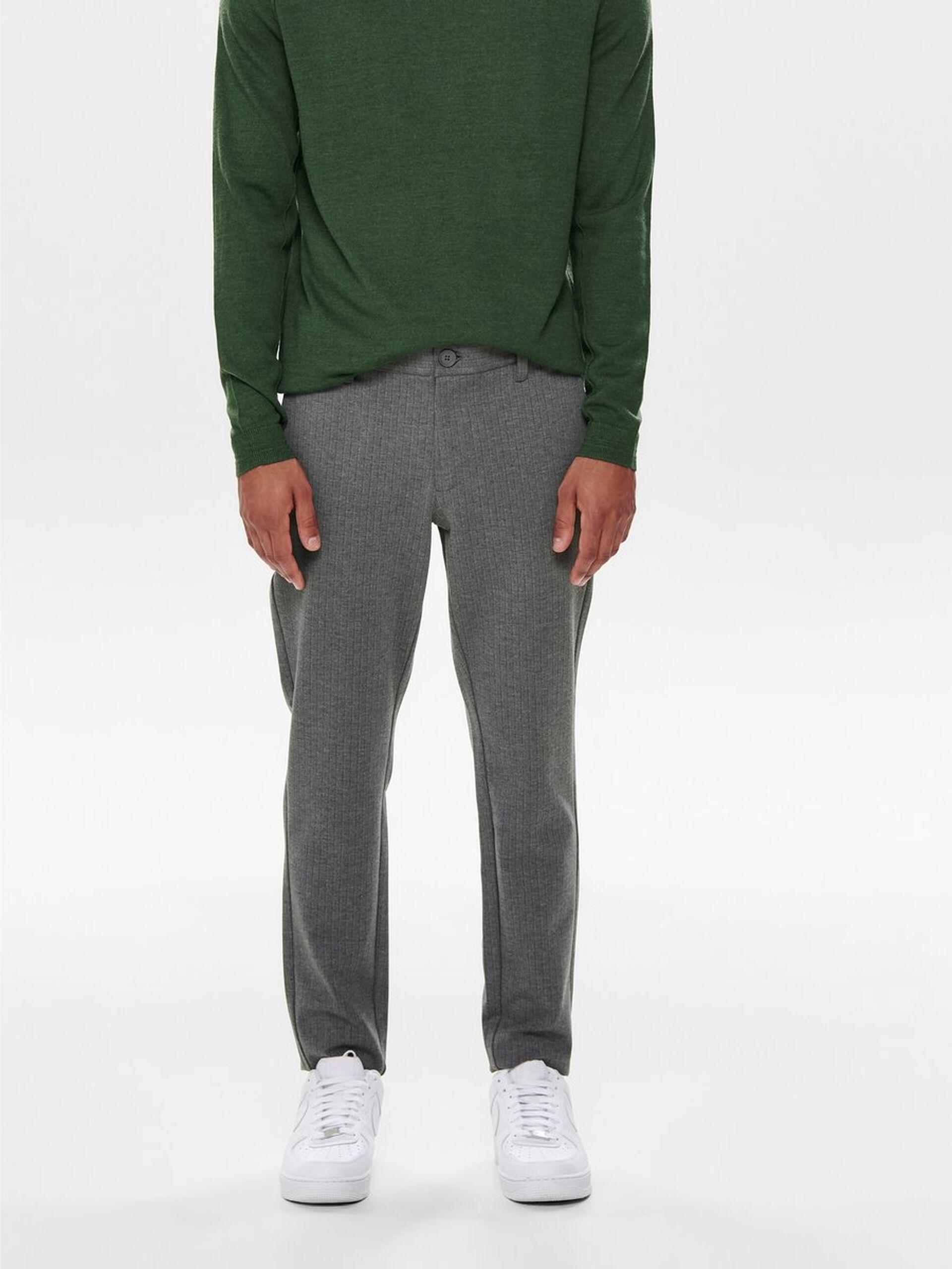 Performance Pants, Only & Sons, Mark striped chinos, medium grey melange, 33/32