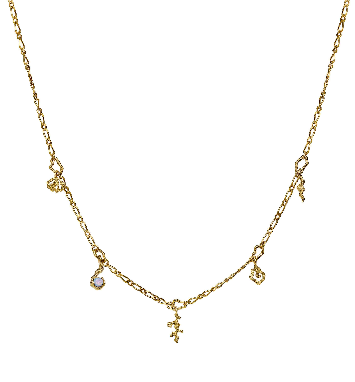 Maanesten Hali halskæde, guld, 41 cm