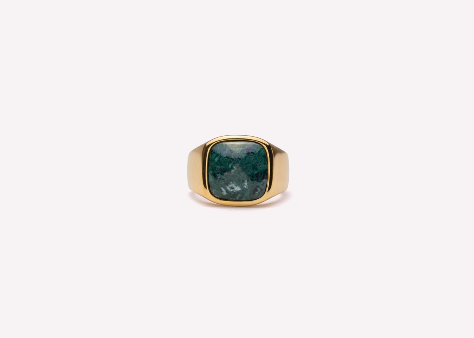 Frederik IX Studios Cushion Signet ring, Gold/Green Marble, 58