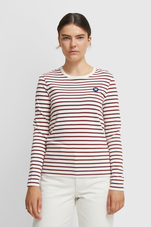 Wood Wood Moa Langærmet T-shirt, Off White/Dark Red Stripes, S