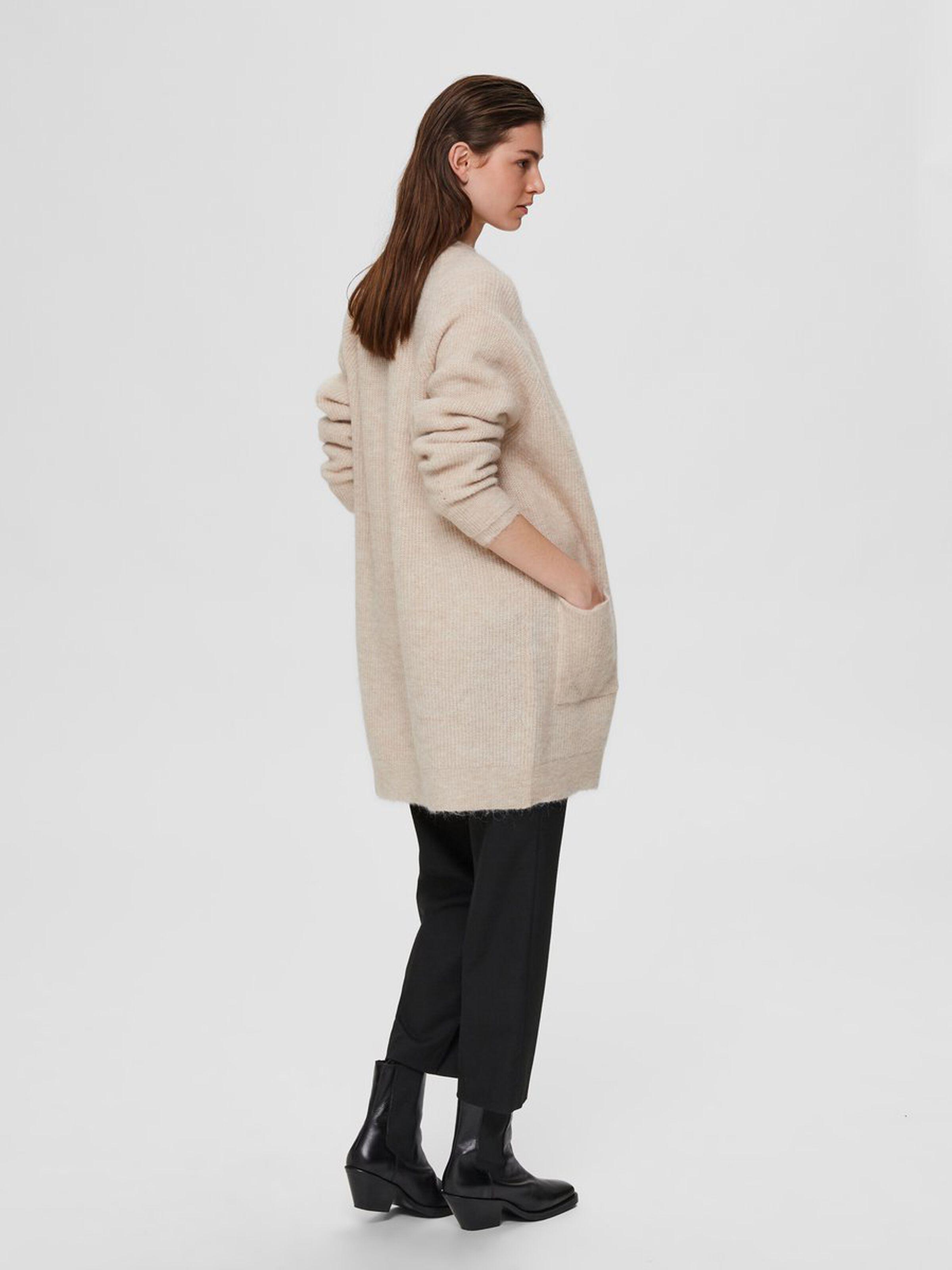 Selected Femme Midi uldmix cardigan, birch, medium