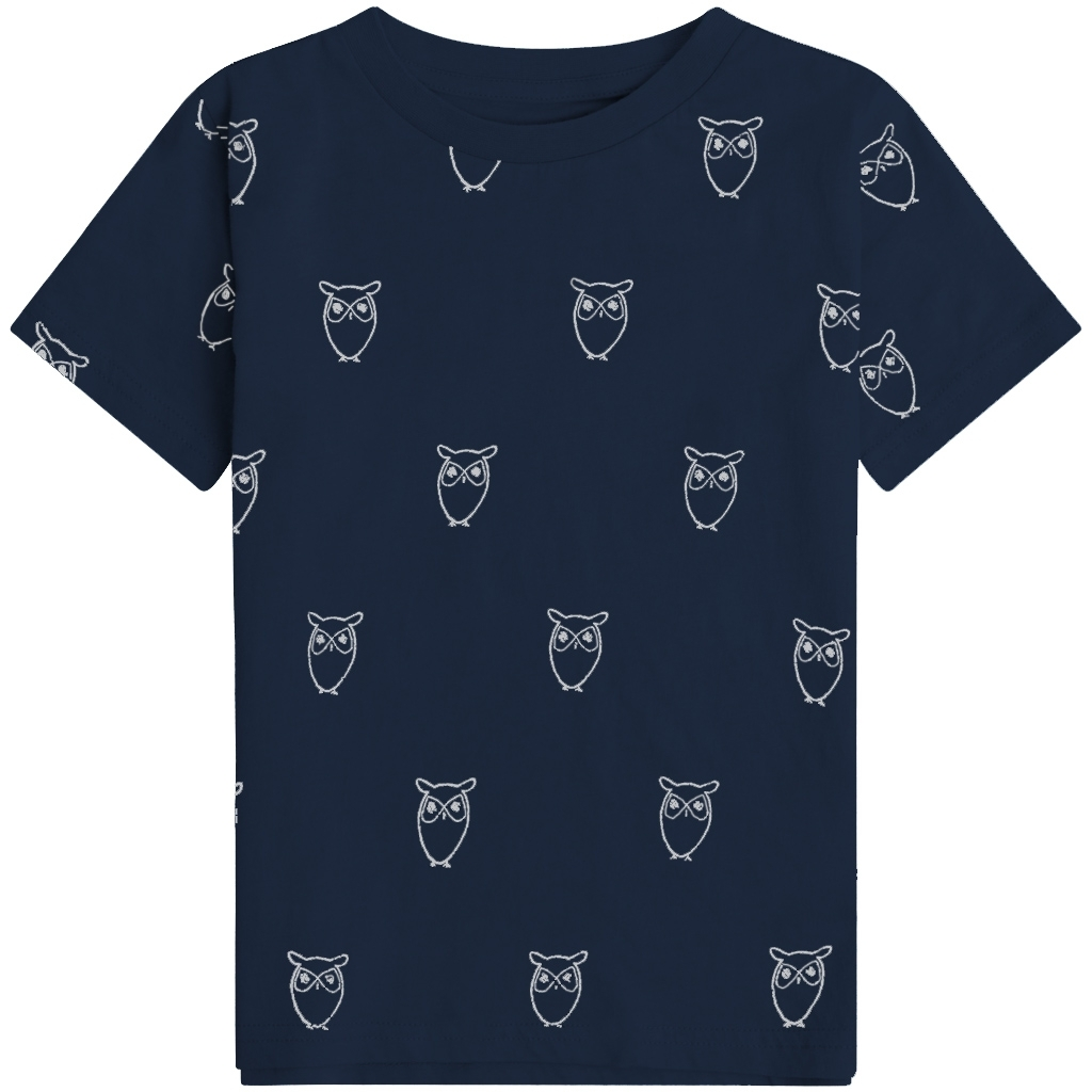 Knowledge Cotton Apparel Flax Owl t-shirt, total eclipse, 146/152