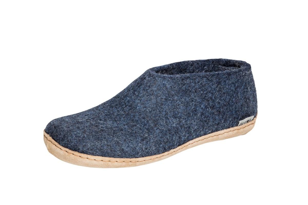 Glerups sko med skindsål, denim, 40