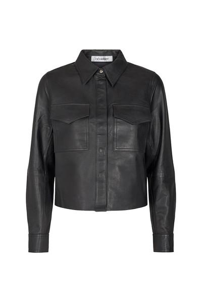 Co'Couture Phoebe Crop læderskjorte, black, small