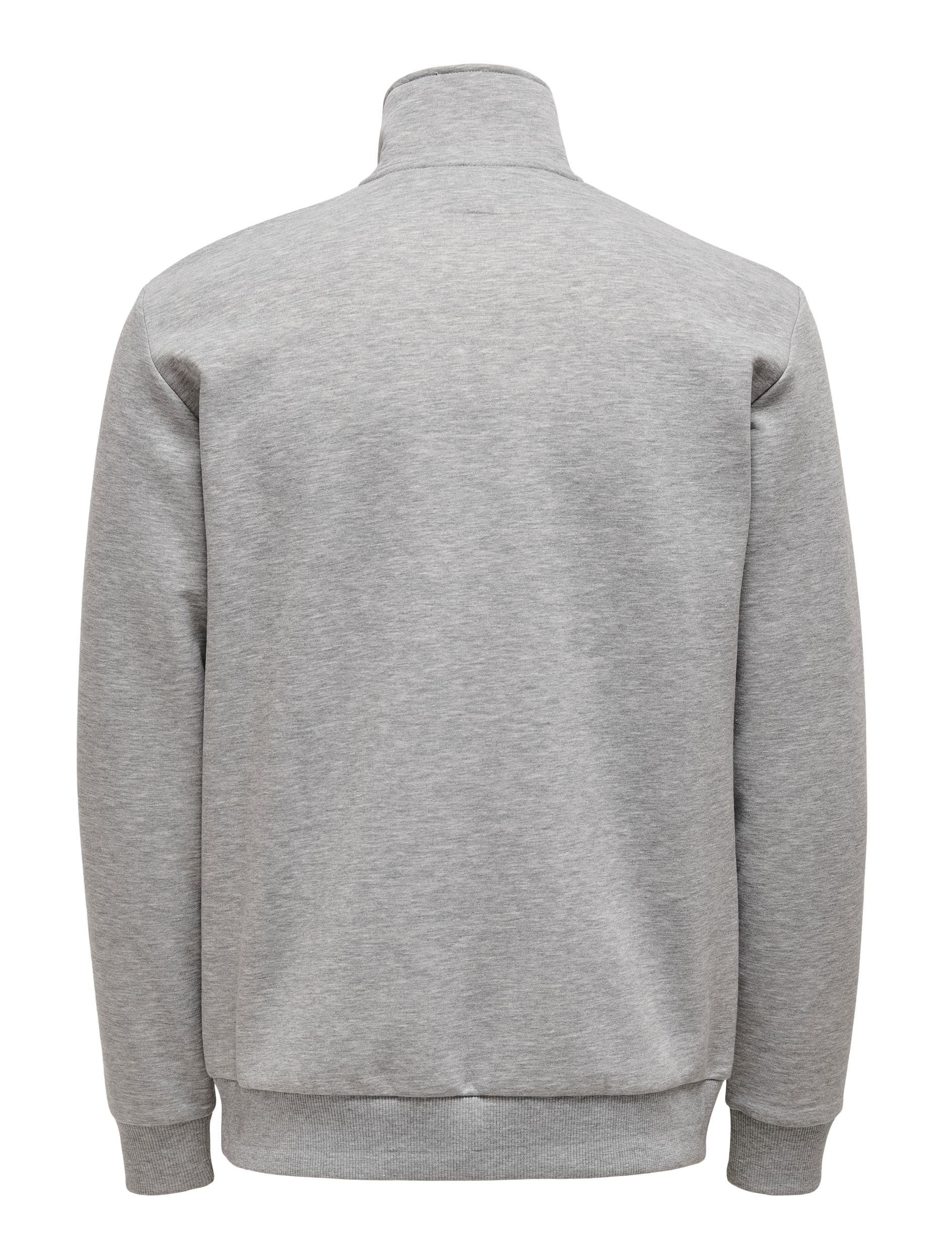 Only & Sons Ceres Lift Half Zip sweatshirt, light grey melange, large