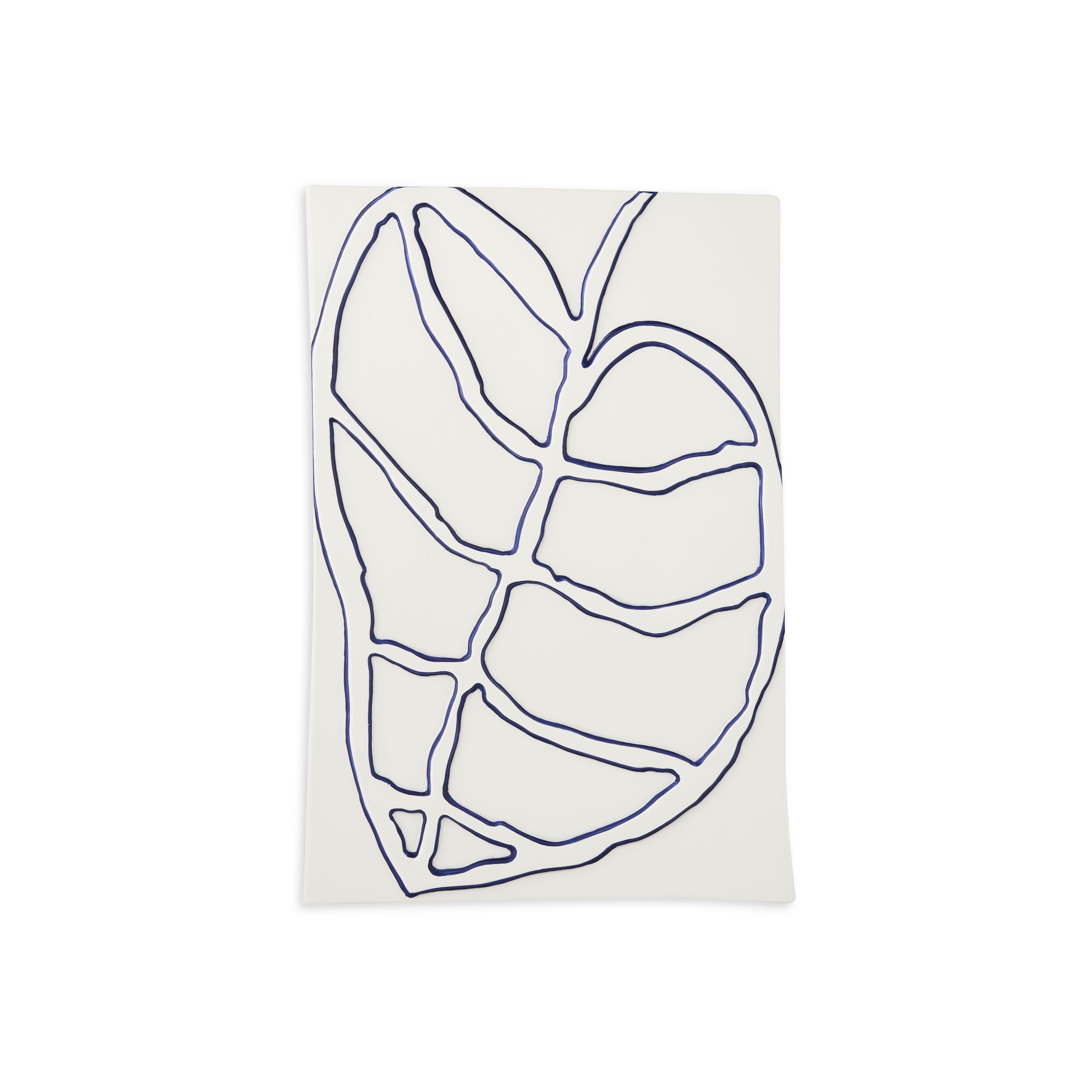 Kähler Relief blad vægophæng, 28x41 cm, hvid