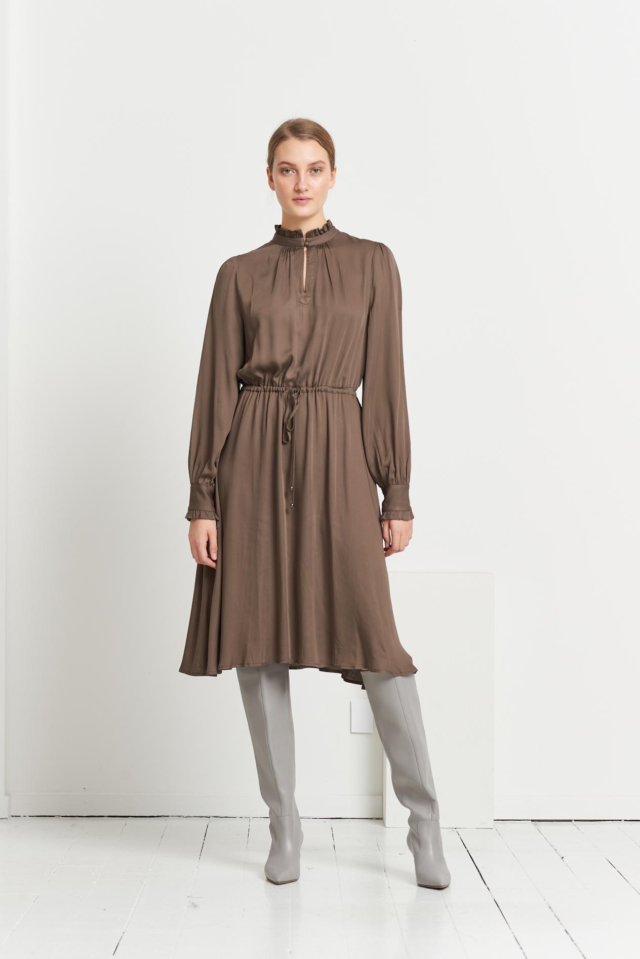 Bruuns Bazaar Bauma Tilda kjole, major brown, 44