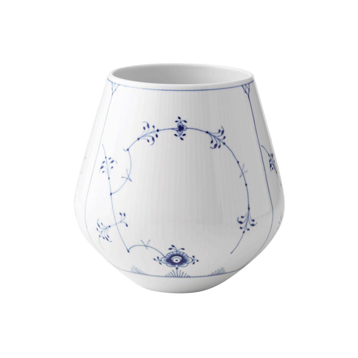 Royal Copenhagen Musselmalet Riflet vase, 20,5 cm