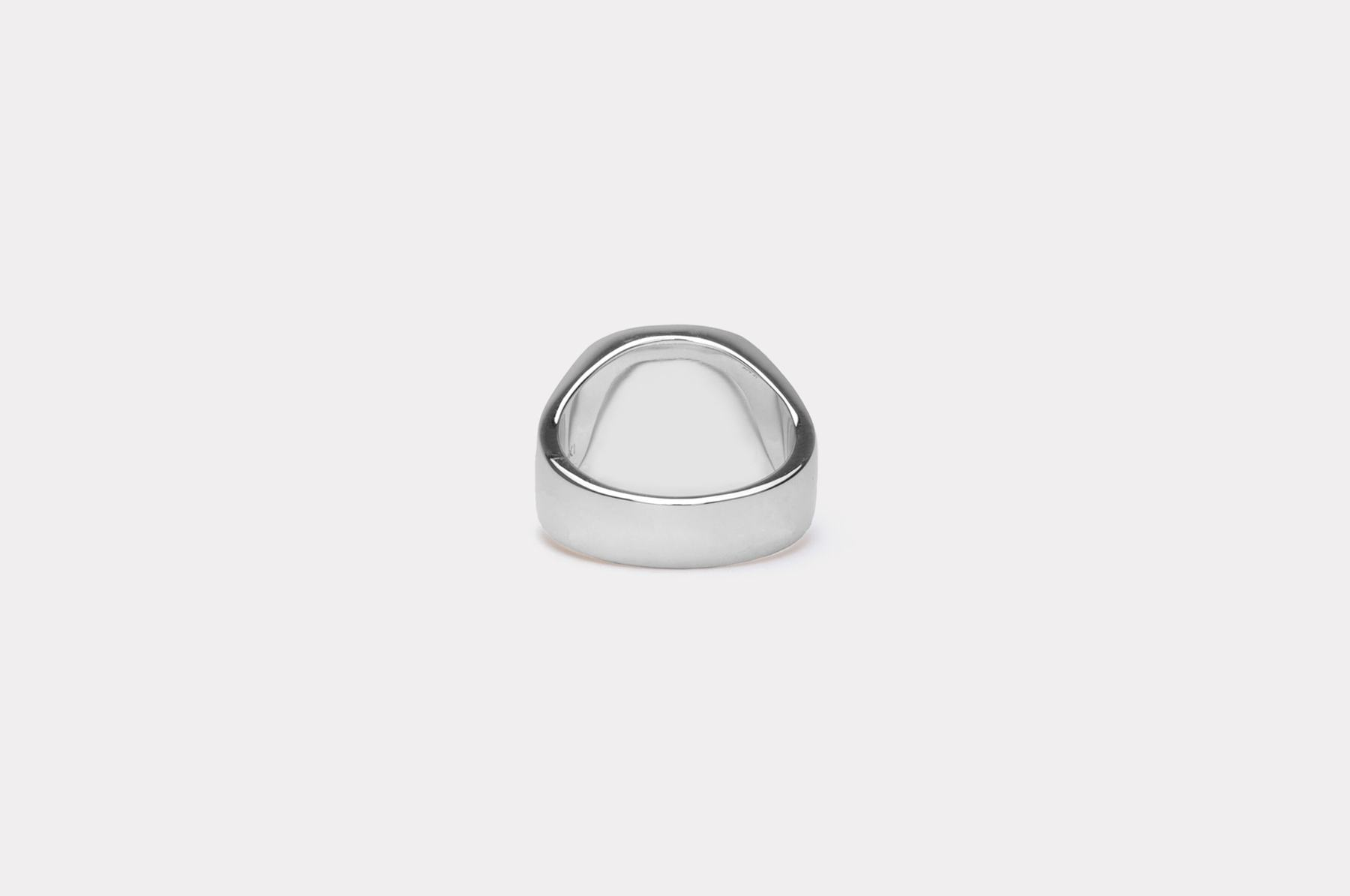 Frederik IX Studios Cushion Signet ring, Silver/Green Marble, 66