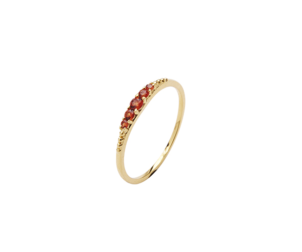 Pico Aisha ring, guld/rød, 52