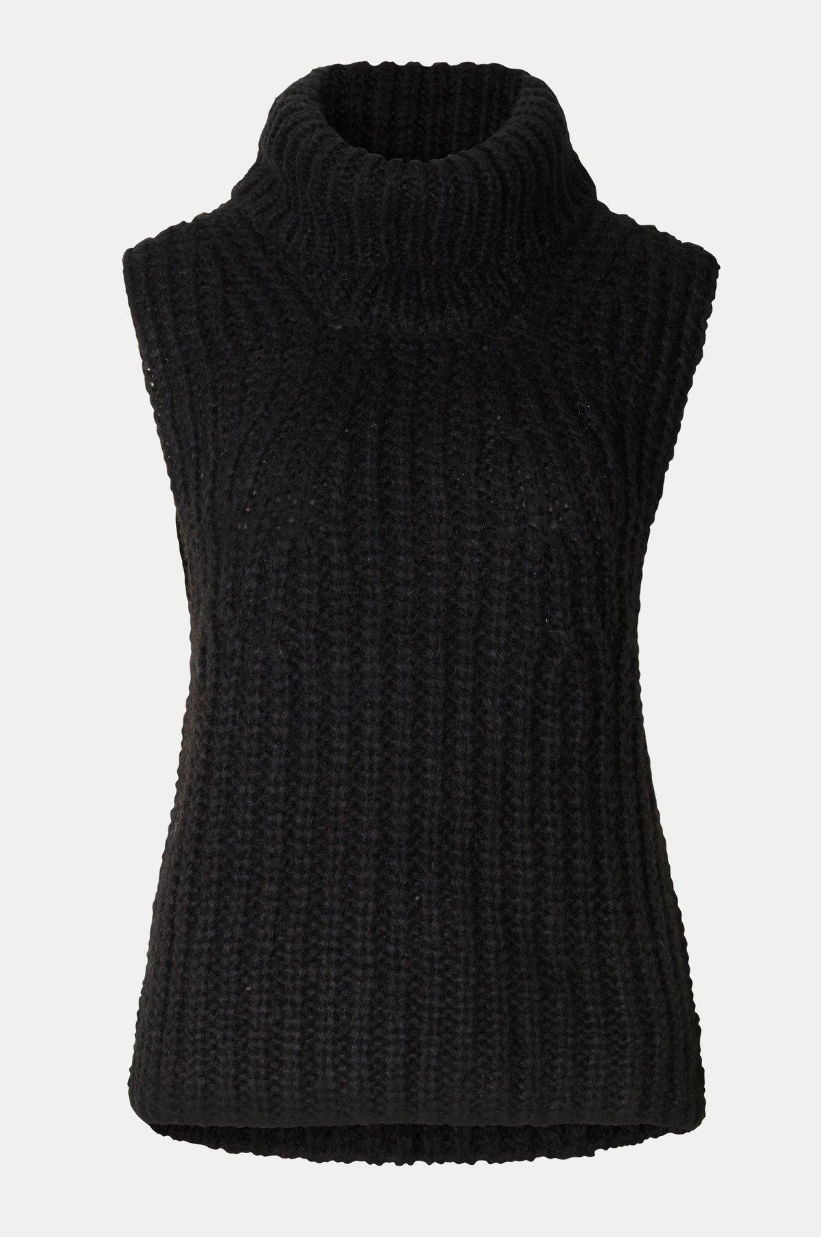 Second Female Ivory Knit vest, black, large