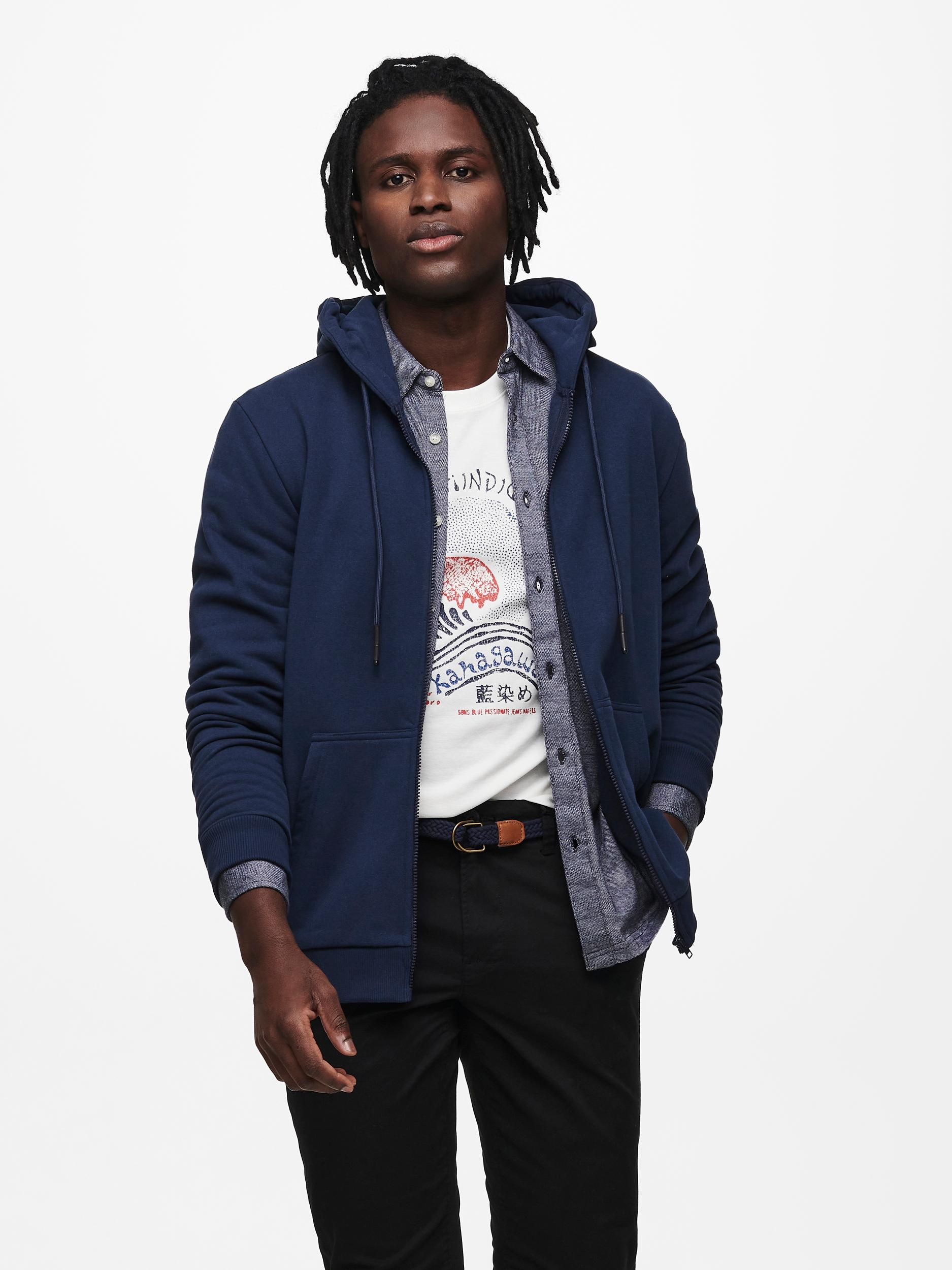 Only & Sons Ceres Life Zip hoodie, dress blues, x-large