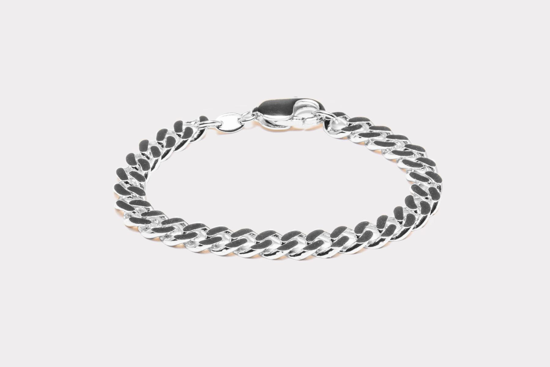 Frederik IX Studios Chunky curb armbånd, Silver, 17