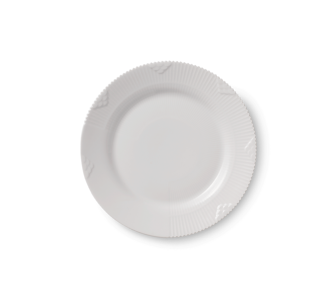 Royal Copenhagen Hvid Elements desserttallerken, 19 cm